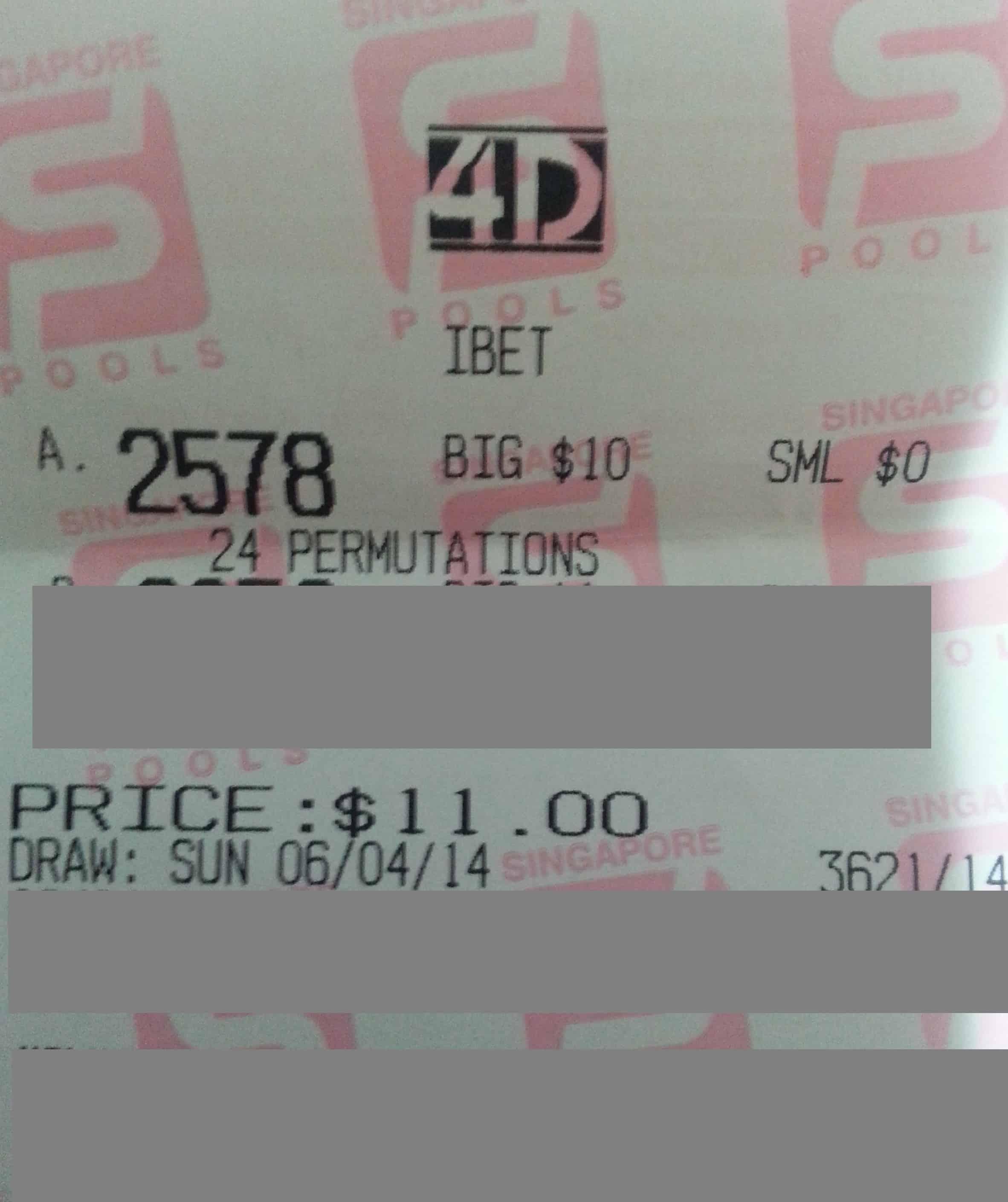 6 April $100 Winning Ticket | 4D SINGAPORE