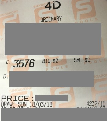 2nd prize winning ticket from Jackpot system 18 march 2018